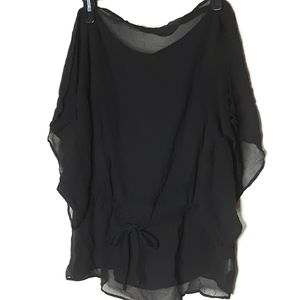 OGLE Agnee Black Sheer Open Sleeve Cover up Top M